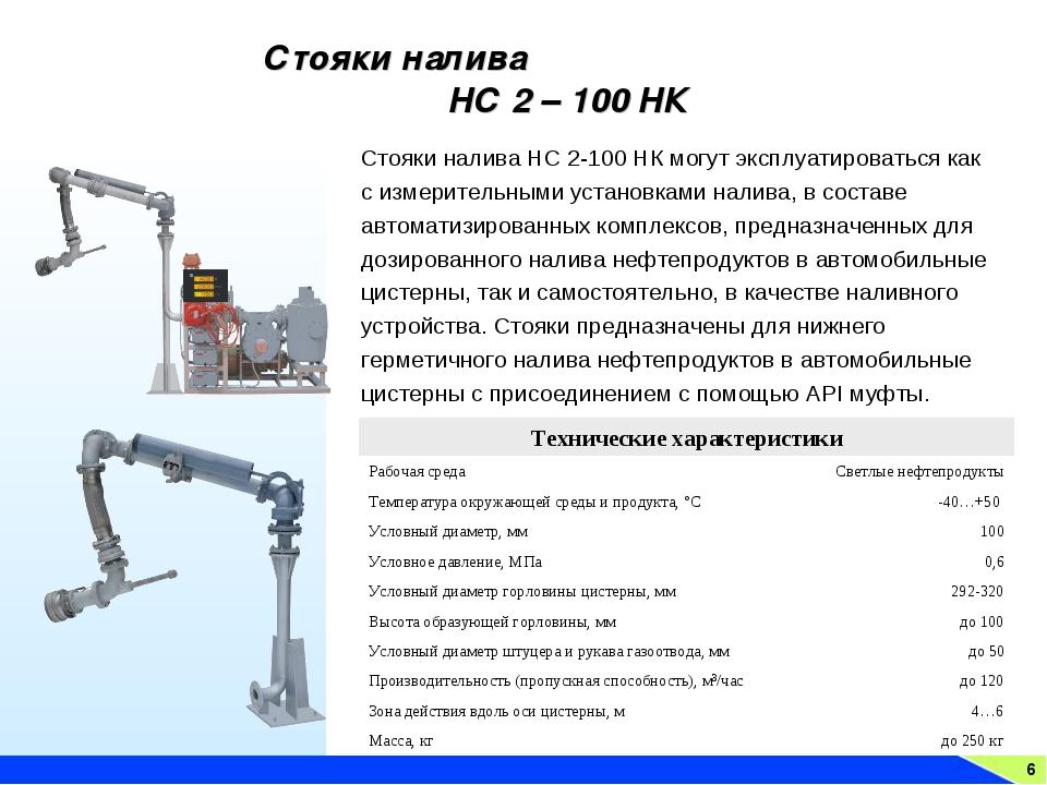 6 Стояки налива НС 2 – 100 НК Стояки налива НС 2-100 НК могут эксплуатировать...