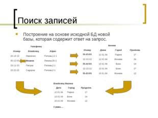 Поиск записей Построение на основе исходной БД новой базы, которая содержит о