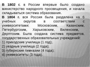 В 1802 г. в России впервые было создано министерство народного просвещения, и