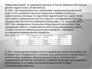 Перед революцией, по примерным данным, в России работали 250 платных детских