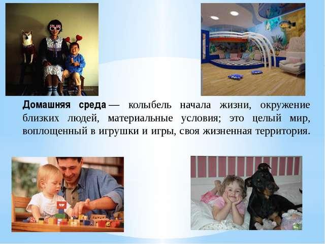 Домашняя среда— колыбель начала жизни, окружение близких людей, материальные...