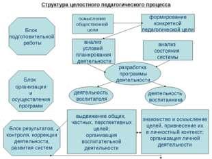 Структура целостного педагогического процесса Блок подготовительной работы Бл