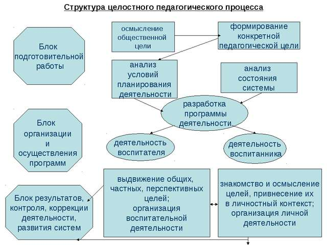 Структура целостного педагогического процесса Блок подготовительной работы Бл...