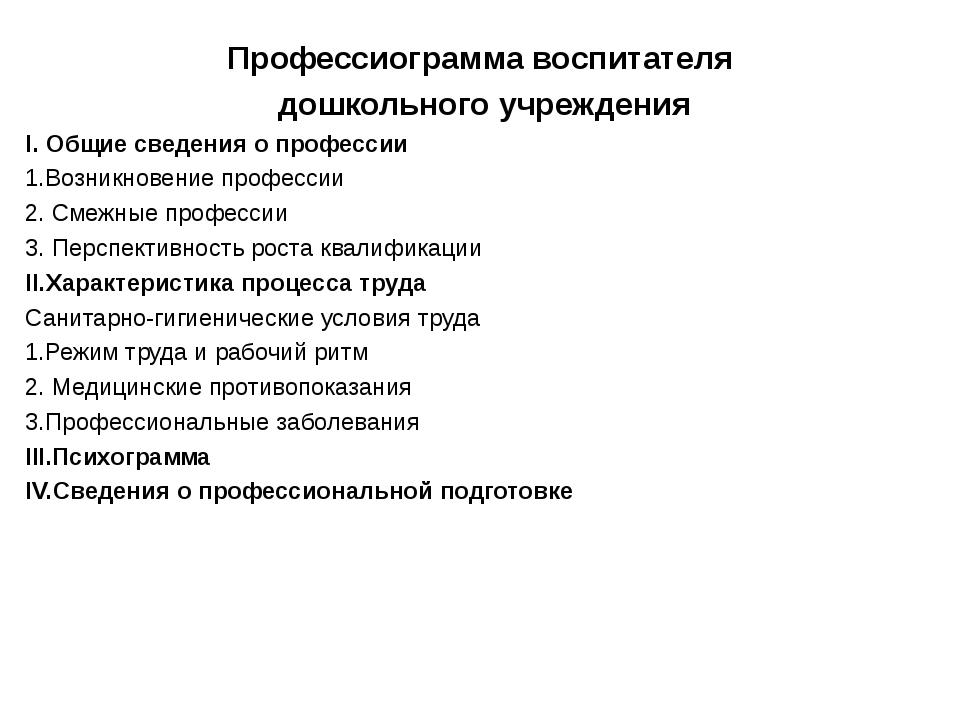 Профессиограмма воспитателя дошкольного учреждения I. Общие сведения о профес...