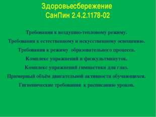 Здоровьесбережение СанПин 2.4.2.1178-02 Требования к воздушно-тепловому режим