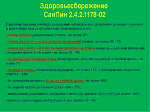 Здоровьесбережение СанПин 2.4.2.1178-02 При оборудовании учебных помещений со