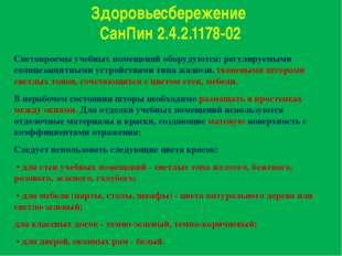 Здоровьесбережение СанПин 2.4.2.1178-02 Светопроемы учебных помещений оборуду