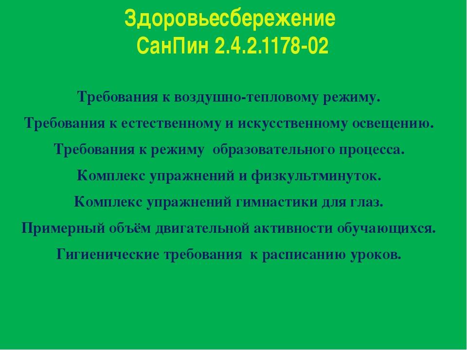 Здоровьесбережение СанПин 2.4.2.1178-02 Требования к воздушно-тепловому режим...