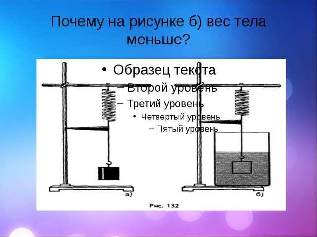 Почему на рисунке б) вес тела меньше?