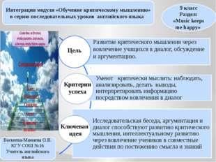 Интеграция модуля «Обучение критическому мышлению» в серию последовательных у
