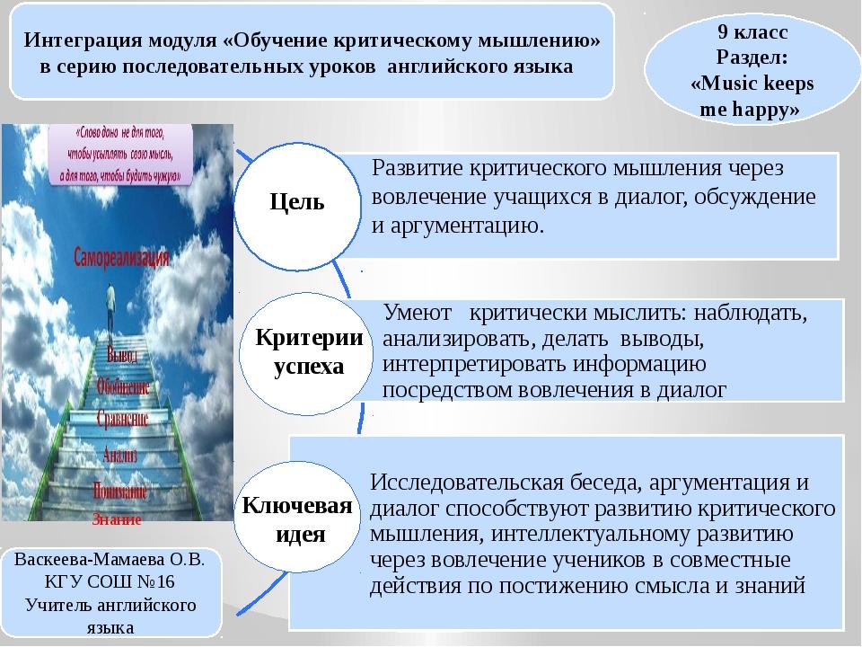 Интеграция модуля «Обучение критическому мышлению» в серию последовательных у...