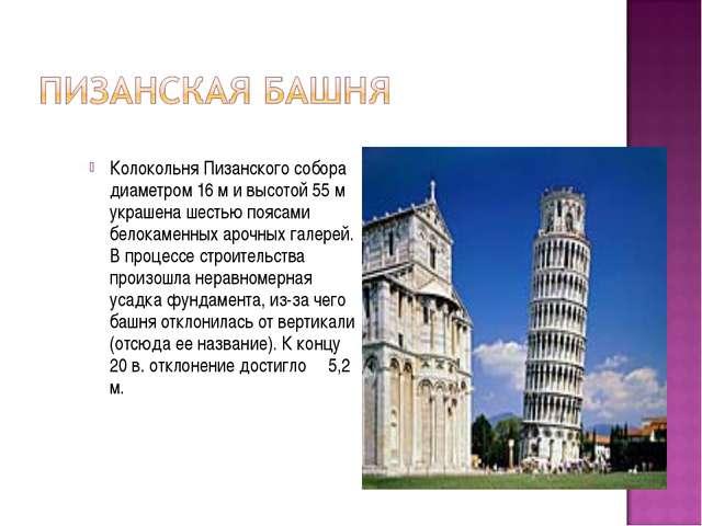 Колокольня Пизанского собора диаметром 16 м и высотой 55 м украшена шестью по...