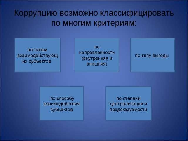 Коррупцию возможно классифицировать по многим критериям: по типам взаимодейст...