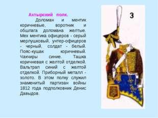 Ахтырский  полк. Доломан и ментик коричневые, воротник и обшлага доломана