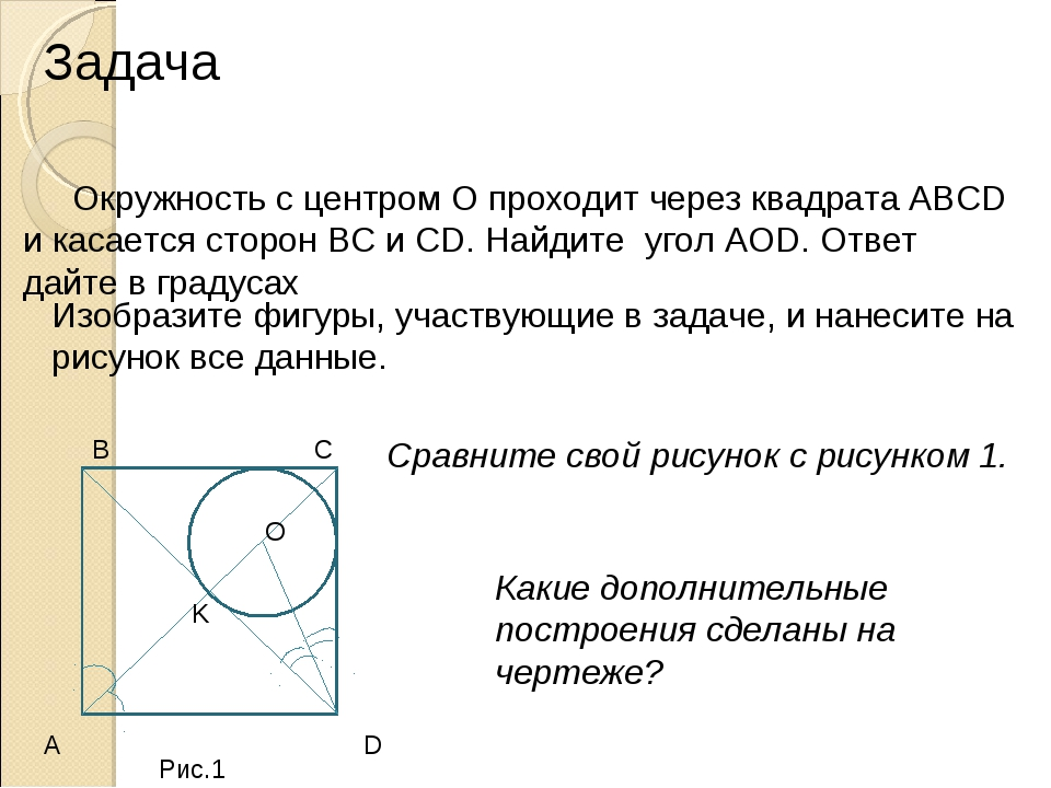Задача Окружность с центром О проходит через квадрата ABCD и касается сторон...