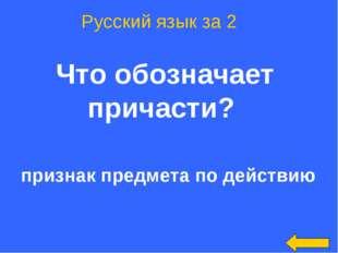 Что обозначает причасти? Русский язык за 2 признак предмета по действию