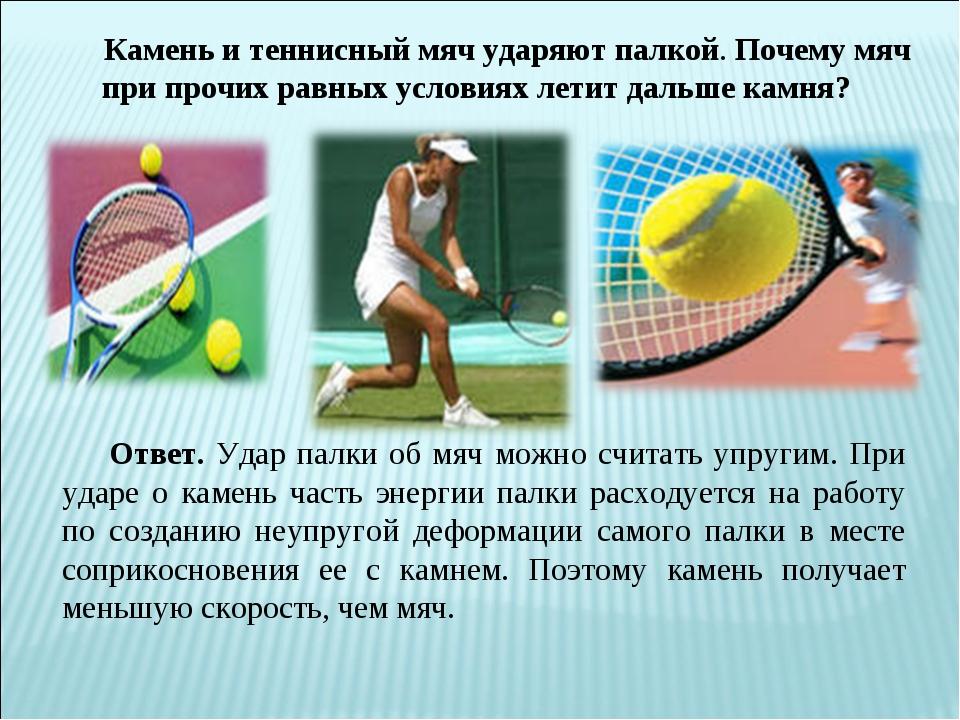 Камень и теннисный мяч ударяют палкой. Почему мяч при прочих равных условиях...