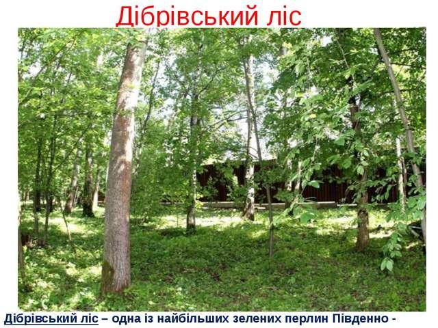 Дібрівський ліс Дібрівський ліс – одна із найбільших зелених перлин Південно...