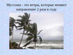 Муссоны - это ветры, которые меняют направление 2 раза в году
