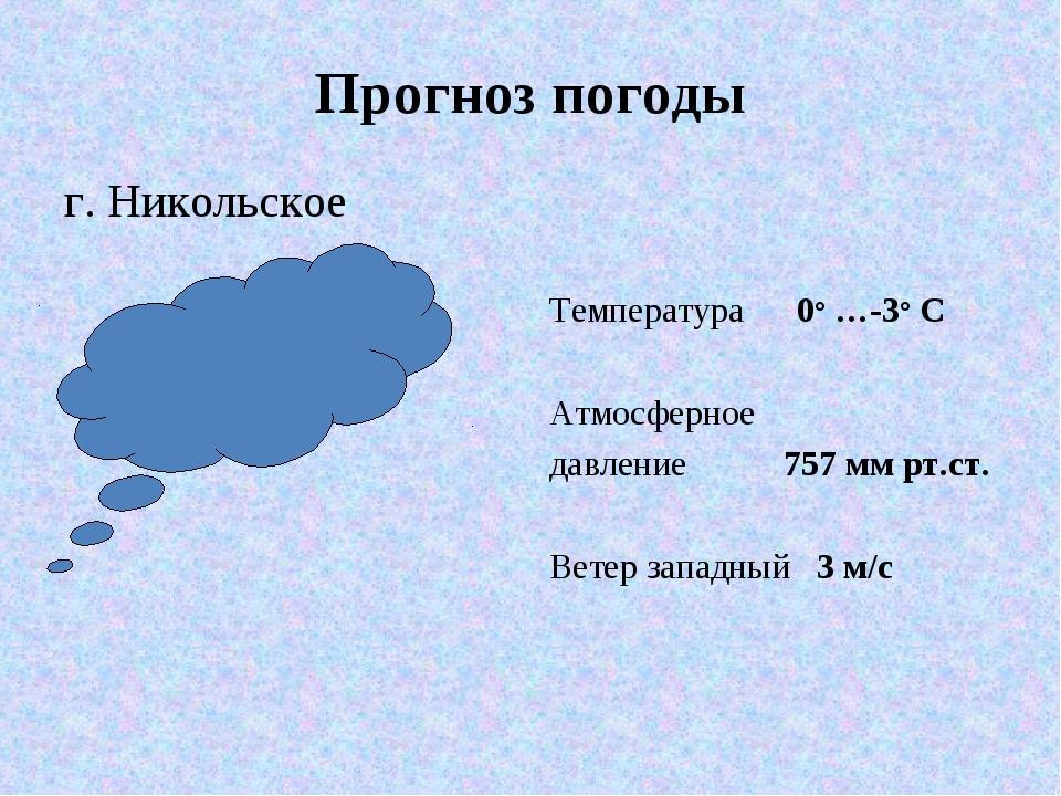 Прогноз погоды г. Никольское Температура 0° …-3° С Атмосферное давление 757 м...