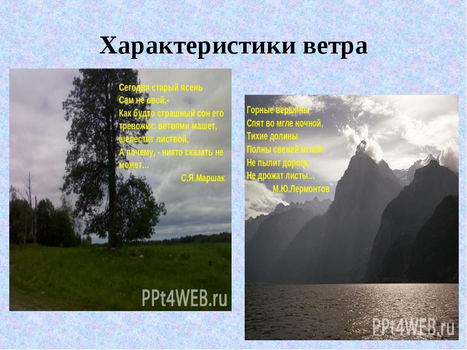 Xарактеристики ветра