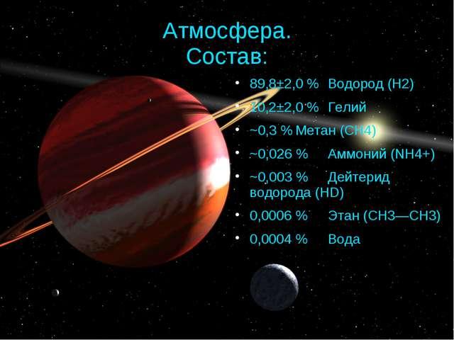Атмосфера. Состав: 89,8±2,0 %Водород (H2) 10,2±2,0 %Гелий ~0,3 %Метан (CH4...