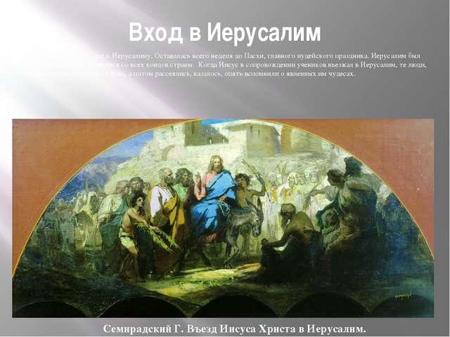 Вход в Иерусалим Христос обратил лицо Свое к Иерусалиму. Оставалась всего нед...