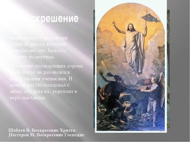 Воскрешение Вместо тела Учителя они увидели ангела, который поведал им, что Х...