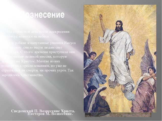 Вознесение На сороковой день после воскресения Иисус вознесся на небеса. Дос...