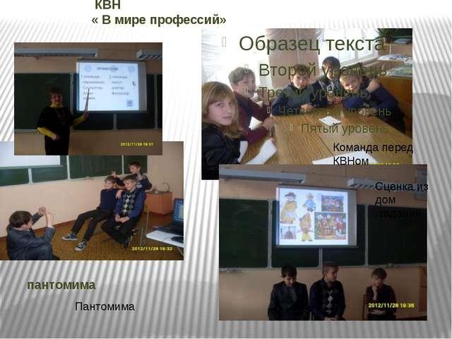 Команда перед КВНом Сценка из дом .задания Пантомима КВН « В мире профессий»...