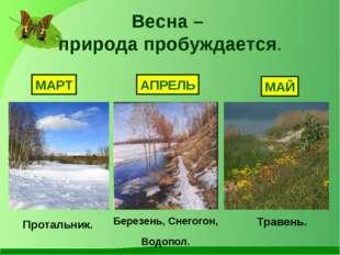 Весна – природа пробуждается. МАРТ АПРЕЛЬ МАЙ Протальник. Березень, Снегогон,