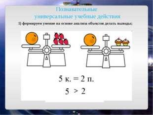 Познавательные универсальные учебные действия 1) формируем умение на основе