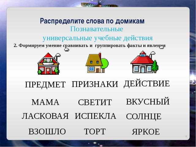 Познавательные универсальные учебные действия Распределите слова по домикам...