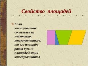 Свойство площадей Если многоугольник составлен из нескольких многоугольников,