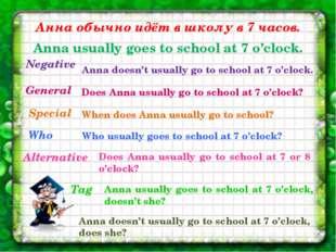 Анна обычно идёт в школу в 7 часов. Anna usually goes to school at 7 o'clock.