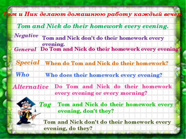Том и Ник делают домашнюю работу каждый вечер. Tom and Nick do their homework...