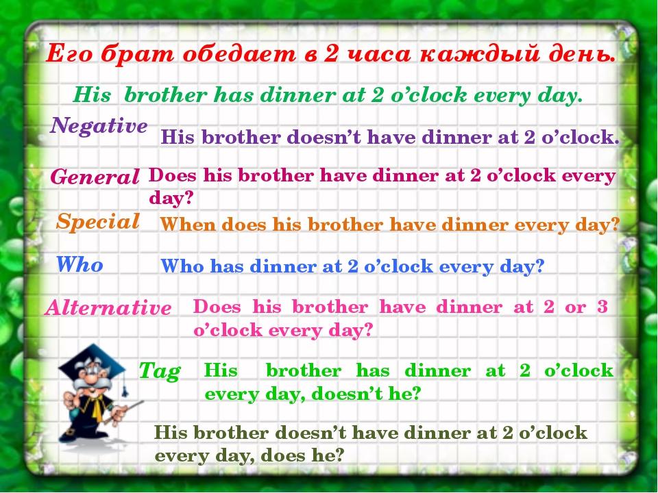 Его брат обедает в 2 часа каждый день. His brother has dinner at 2 o'clock ev...