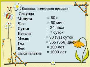 Единицы измерения времени Секунда Минута Час Сутки Неделя Месяц Год Век Тысяч
