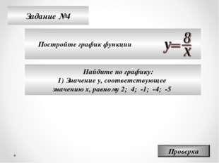 Задание №4 Постройте график функции Проверка Найдите по графику: Значение у,