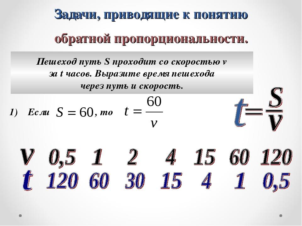 Задачи, приводящие к понятию обратной пропорциональности. Пешеход путь S прох...