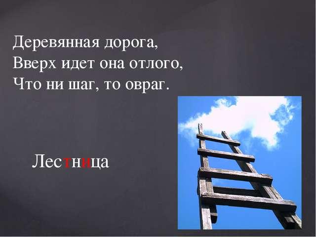 Деревянная дорога, Вверх идет она отлого, Что ни шаг, то овраг. Лестница