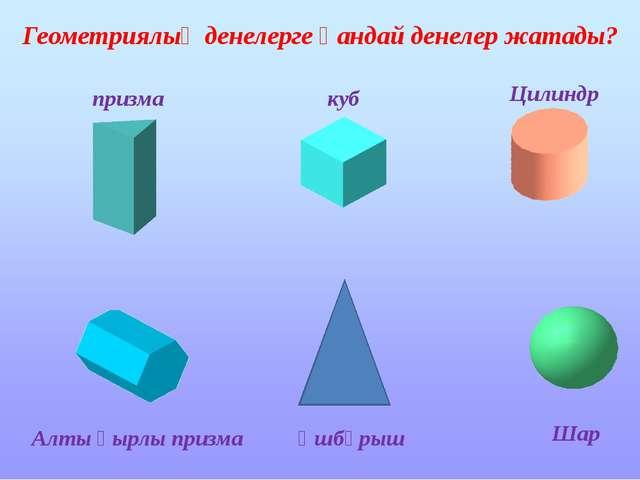 Геометриялық денелерге қандай денелер жатады? призма куб Цилиндр Алты қырлы...