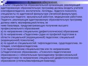 8.Кадровое обеспечение – В штат специалистов образовательной организации, р