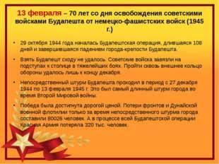 13 февраля – 70 лет со дня освобождения советскими войсками Будапешта от неме