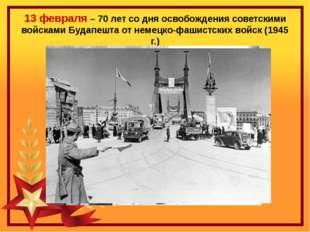 13 февраля – 70 лет со дня освобождения советскими войсками Будапешта от нем