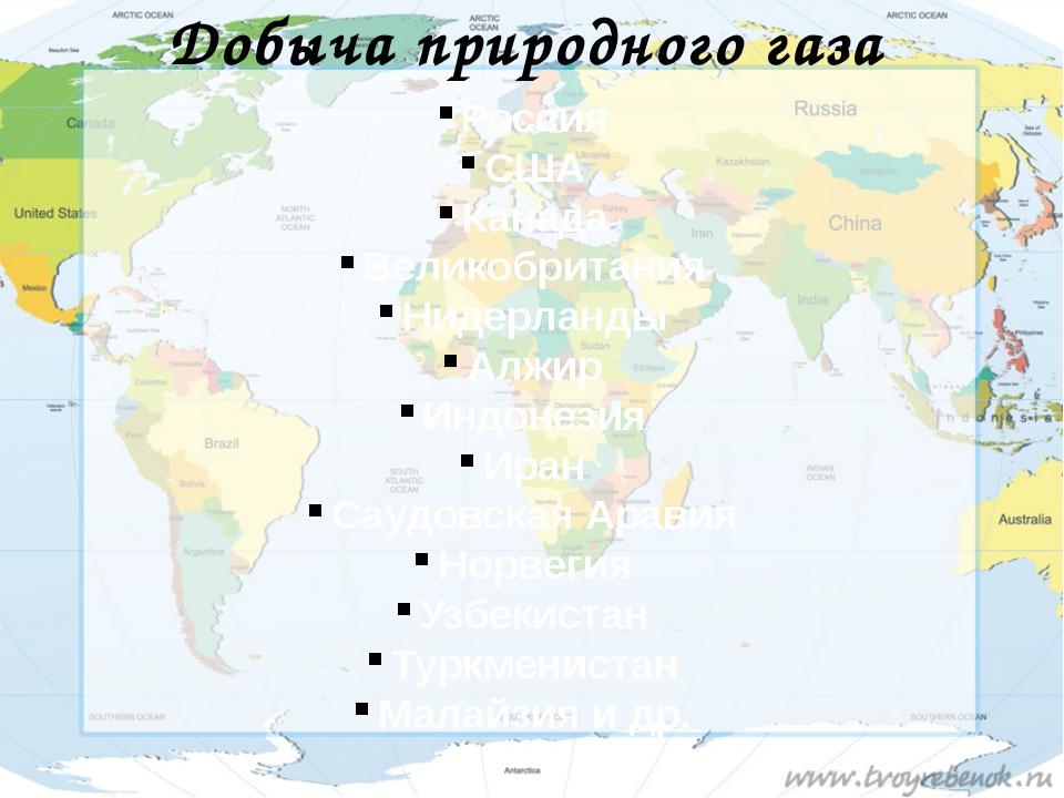 Добыча природного газа Россия США Канада Великобритания Нидерланды Алжир Индо...