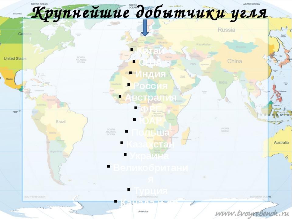 Крупнейшие добытчики угля Китай США Индия Россия Австралия ФРГ ЮАР Польша Каз...