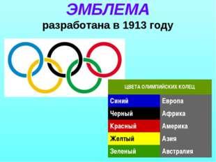 ЭМБЛЕМА разработана в 1913 году ЦВЕТА ОЛИМПИЙСКИХ КОЛЕЦ СинийЕвропа Черный