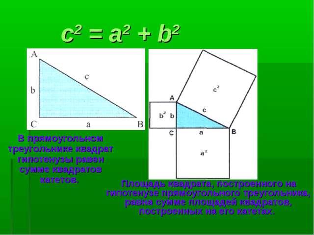 c2 = a2 + b2 В прямоугольном треугольнике квадрат гипотенузы равен сумме ква...