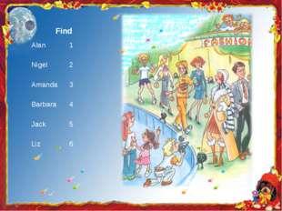 Find Alan 1 Nigel 2 Amanda 3 Barbara 4 Jack 5 Liz 6